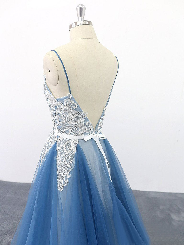 Spaghetti Straps A Line Party Dresses Appliques Blue Tulle Prom Dresses OKS13
