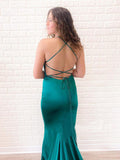 Sexy Spaghetti Straps Mermaid Cris Crossed Lace Up Back Long Prom Dress OKV77