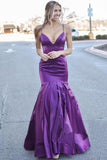 Purple Spaghetti Straps Mermaid Zipper Back Prom Dresses With Ruffle OKV73