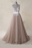 Spaghetti Straps Appliques Tulle A Line Long Prom Dress Formal Evening Dresses OKS14