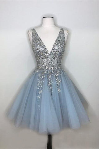 Sparkly A-line Deep V-neck Light Blue Short Homecoming Dresses OKO64