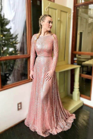 Sparkly Blush Pink Long Prom Dresses with Long Sleeves OKK54