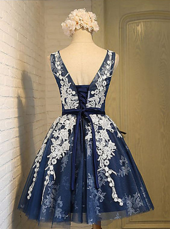 A-line Scoop Knee-length Navy Blue Organza Lace Up Back Homecoming Dress with Appliques OK377