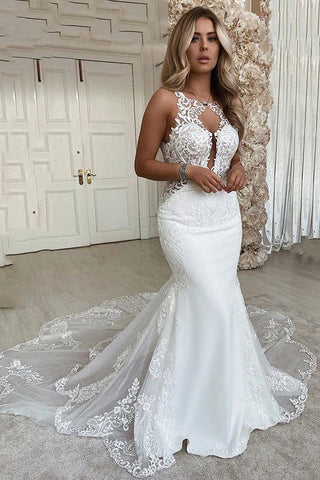 Sexy Mermaid Wedding Dresses Scoop Neck Lace Appliques Bride Dress OKW96