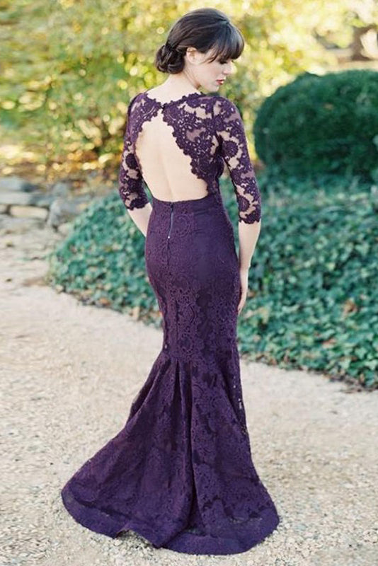 Gorgeous Bridesmaid Dresses,Half Sleeves Bridesmaid Dress,Mermaid Bridesmaid Dresses,Long Bridesmaid Dresses,Purple Bridesmaid Dresses,Lace Bridesmaid Dress