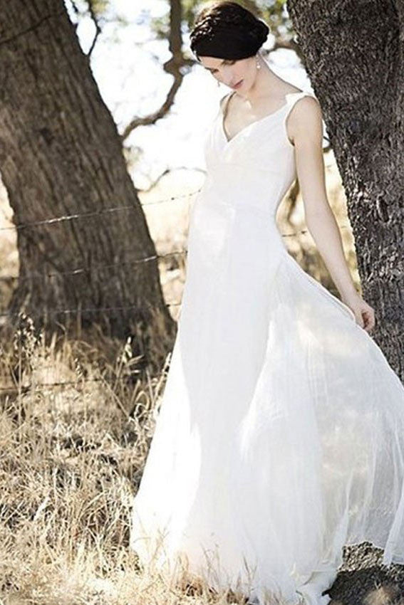 A-line V-neck Ivory Chiffon Floor Length Sleevesless Simple Beach Wedding Dresses OK223