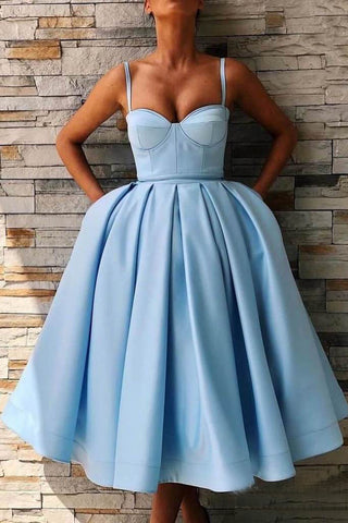 Tea Length Sky Blue Prom Dress with Pocket Spaghetti Straps Simple Graduation Dress OKN81