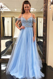 Gorgeous Beading Blue Tulle Long A Line Puffy Prom Dress,Graduation Dress OK825