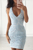 Sleeveless Lace Elegant Sexy V-neck Lace Homecoming/Cocktail Dresses,Short Party Dress OK250