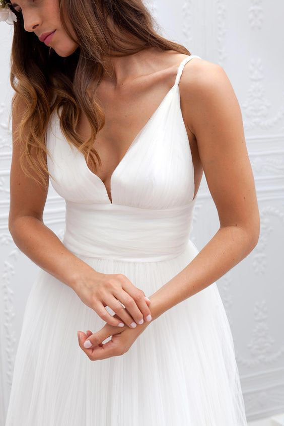 Simple Beach Cheap Wedding Dress,Summer Coast Off White A-line Wedding dresses OK107