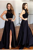 Two Pieces Black Long Sexy Split Prom Dress, Formal Graduation Party Dresses OK147