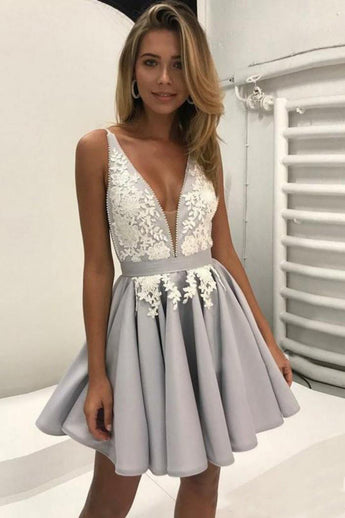 homecoming dress,short prom dress,short party dress,sleeveless Prom Dress,Cheap Homecoming Dress,Appliques Homecoming Dresses,Deep V Neck Prom Dresses,Pleats Porm Gown