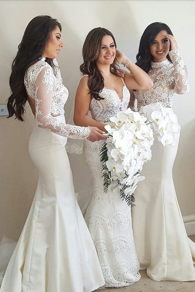 Elegant Bridesmaid Dress,Mermaid Bridesmaid Dresses,Ivory Bridesmaid Dress,Long Sleeves Bridesmaid Dress,High Neck Bridesmaid Dresses