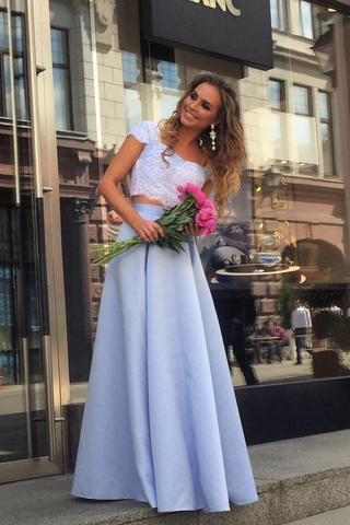 Cheap Prom Dresses,Satin Prom Gown,Light Blue Prom Dress,Two Piece Prom Dresses