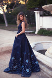 Elegant A-Line Deep V-Neck Navy Blue Long Prom Dress with Appliques Pockets OK973