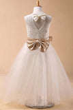 Ball Gown Jewel Sleeveless Bowknot Long Tulle Flower Girl Dresses With Sash OK702