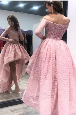 Fashion A-Line Off the Shoulder High Low Long Sleeves Pink Lace Prom Dress OKF54