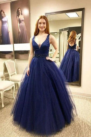 Blue Prom Dresses,Long Prom Gown,V neck Prom Dress,Tulle Prom Dress,Puffy Prom Dress
