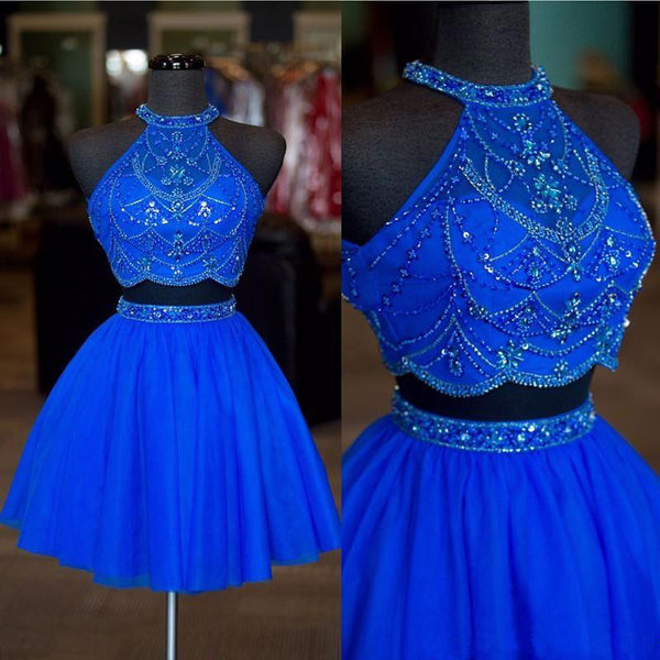 Halter Two Pieces Beaded Royal Blue A-line Tulle Mini Short Homecoming Dresses OKC14