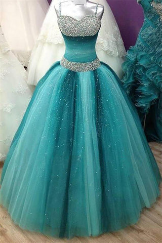 Spaghetti Straps Prom Dresses,Long Quinceanera Dresses,Ball Gown Prom Dresses,Beading Prom Dress,Sequin Shiny Prom Gowns,Quinceanera Dresses,Modest Prom Dress