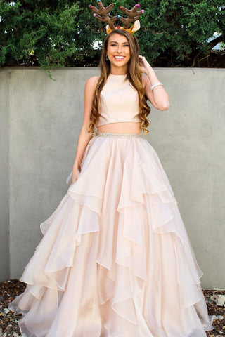 Two Piece Prom Dresses,Puffy Prom Gown,Ruffles Prom Dress,Prom Dress With Ruffles