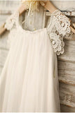 Ivory A-line Scoop Sleeveless Chiffon Floor-Length Flower Girl Dresses OK716
