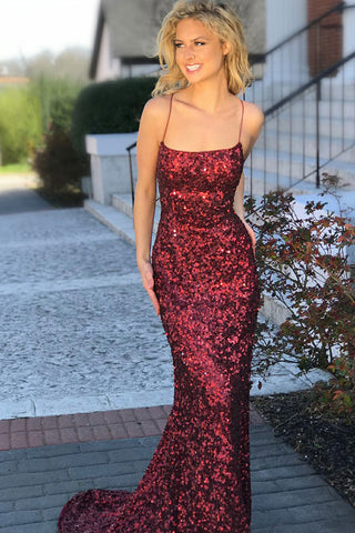 Sexy Prom Dresses,Mermaid Prom Gown,Spaghetti Straps Prom Dress,Burgundy Prom Dress,Sequined Prom Dress