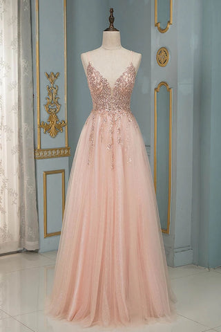 Sparkly Pink Beading Long Prom Dresses Spaghetti Straps Tulle Sequined Party Gown OKW71