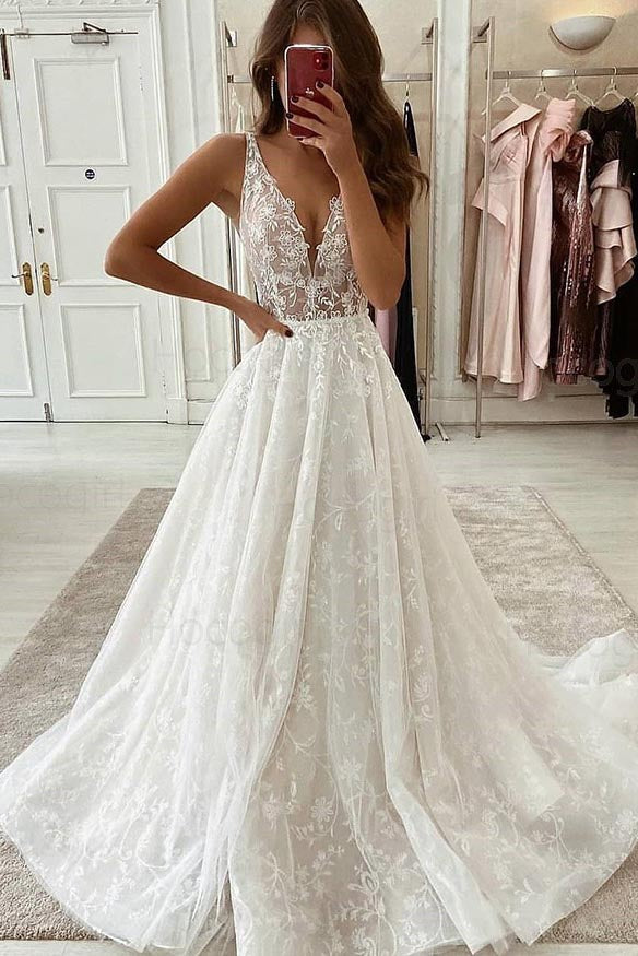 A Line V-Neck Ivory Pleated Lace Cheap Wedding Dress Bridal Gown OKU89
