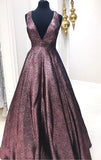 Elegant V Neck A Line Chocolate Long Prom Dress Ball Gown With Pockets OK948