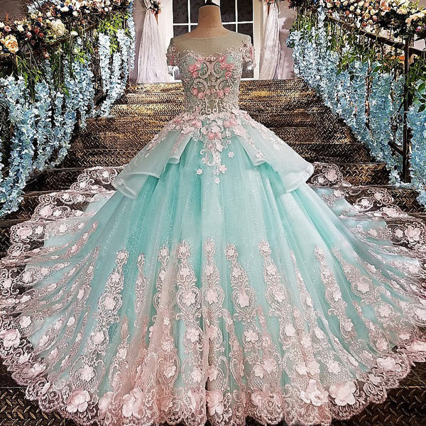 Princess Ball Gown Flower Appliques Prom Dress,Quinceanera Dresses OKE65