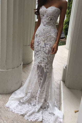 Charming White Lace Mermaid Sexy Sweetheart Sexy Long Beach Wedding Dresses OK184