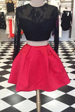 Long sleeve Homecoming Dresses,A-Line Homecoming Dresses,Two Pieces Homecoming Dresses,Short Prom Dresses,Lace Homecoming Dresses,Red Prom Dresses,Black Homecoming Dress,Open Back Prom Dress