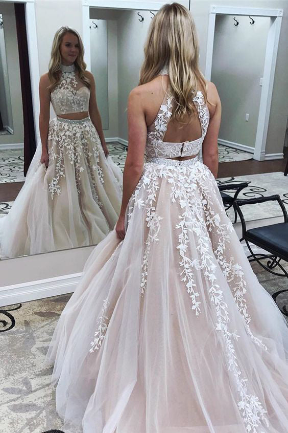 A Line Prom Dress,Two Pieces Prom Dress,High Neck Prom Dresses,Long Prom Dress,Lace Prom Gown,Formal Prom Dresses