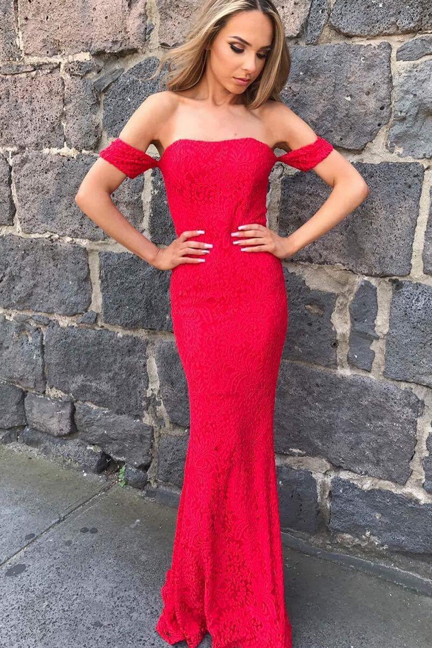 Red Prom Dress,Mermaid Prom Dresses,Sexy Prom Dress,Long Prom Dress,Lace Prom Dress,Red Evening Dress,Off the Shoulder Evening Dress