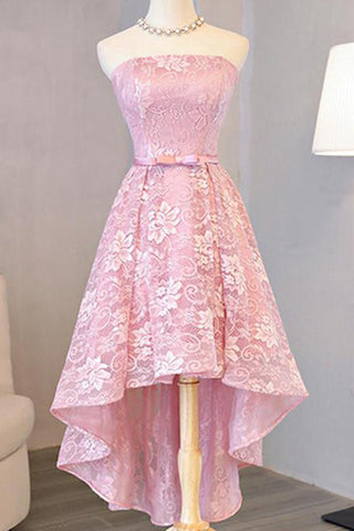 f398c577896d Homecoming Dress Beautiful Pink Lace Asymmetrical Short Prom Dresses ...