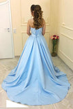 Modest A-Line Sweetheart Light Blue Long Prom Dress With Lace OK693