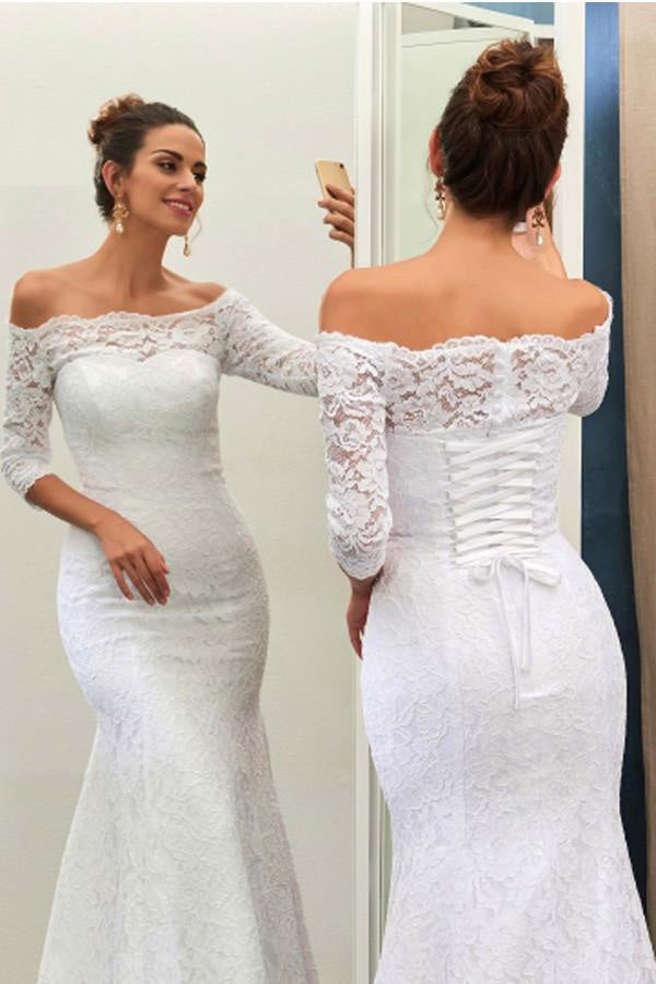 Elegant Wedding Dresses,White Wedding Dresses,Off-The-Shoulder Wedding Dress,3/4-Length Bridal Dress,Mermaid Wedding Gown,Lace Wedding Dress