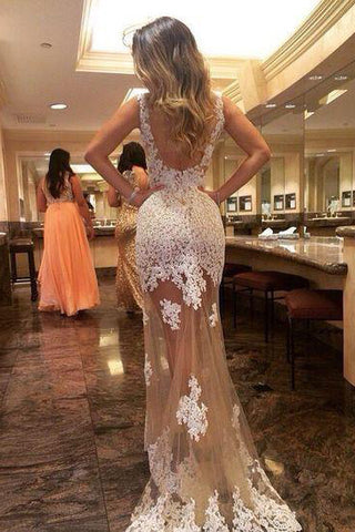 Sheath Prom Dress,Tulle Evening Dresses,Long Prom Dresses,Backless Prom Dresses,Appliques Prom Dress