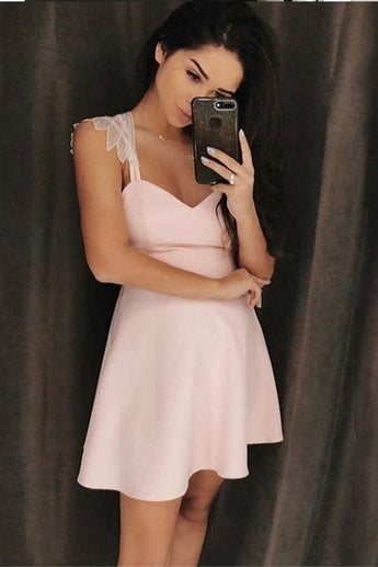 Simple A-Line Spaghetti Straps Short Pink Homecoming Dress with Appliques OKD25