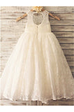 Ivory A-line Scoop Sleeveless Floor-Length Lace Flower Girl Dresses OK718