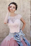 Princess Cap Sleeves Ball Gown Bateau Lace Bow-knot Pink Tulle Wedding Dresses OK563