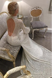 Mermaid High Neck Open Back Sweep Train Ivory Lace Wedding Dress OKR17
