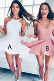 white homecoming dresses,A-line homecoming dress,Blush Homecoming Dresses,Backless prom dress,Satin homecoming dress,girls homecoming dresses