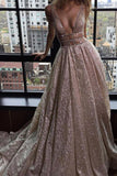 Modest A-line Silver Tulle V-Neck Rhinestone Prom Evening Dress Party Dress OK580