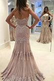 Vintage Strapless Sweetheart Lace Mermaid Long Prom Dresses OK584