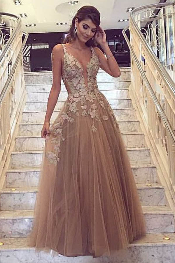 Charming Prom Dresses,V-Neck Prom Dress,A Line Prom Dresses,Champagne Prom Dress,Tulle Evening Dress,Long Prom Dresses,Appliques Prom Dress
