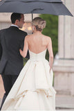 Simple Sweetheart Strapless Court Train Ivory Satin Wedding Dress with Ruched OK565