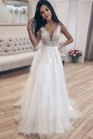 V-neck Appliques Illusion Long Bride Dress A Line Tulle Backless Beach Wedding Gown OKW11