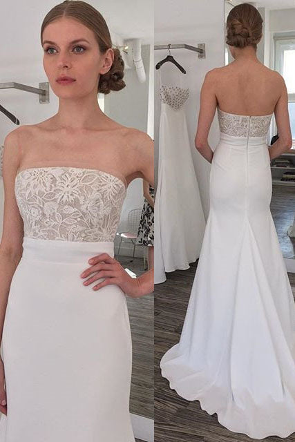 Simple Strapless Mermaid Long Wedding Dress with Sweep Train OKL46